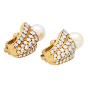 Vintage Cartier Pearl and Diamond Earrings