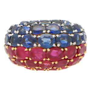 Ruby and Sapphire Bombe Ring