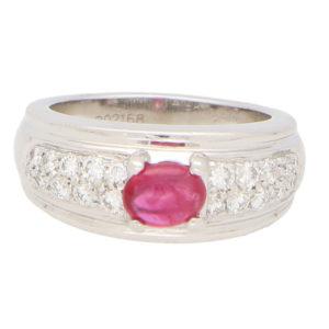 Boucheron Ruby and Diamond set Platinum Ring