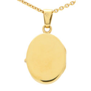 18ct yellow gold oval locket on chain
