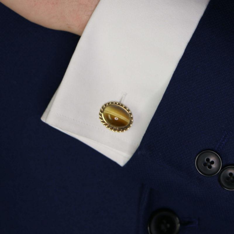 14ct gold rope work cabochon tiger's eye cufflinks