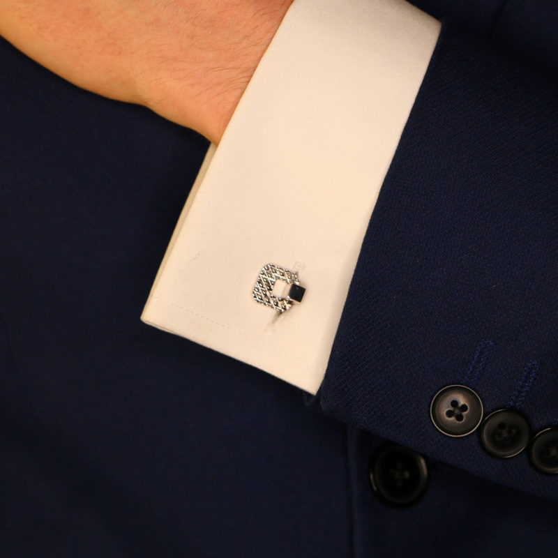 A pair of vintage Italian white gold cufflinks