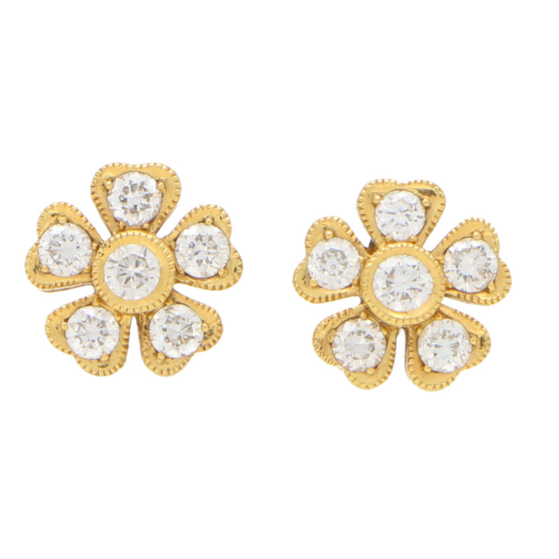 Yellow gold diamond set floral ear studs