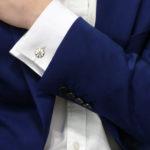 Men's daisy enamel sterling silver chain link cufflinks