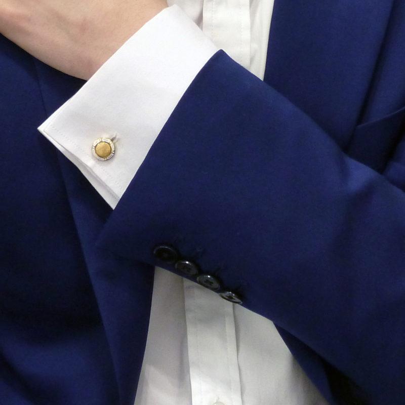 Bvlgari gold enamel cufflinks