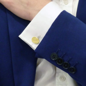 Vintage 18k yellow gold engine turned ribbed cufflinks