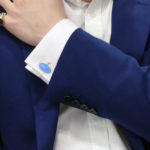 Blue enamel and sterling silver elongated chainlink cufflinks