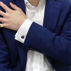 Circular black enamel and pearl cufflinks