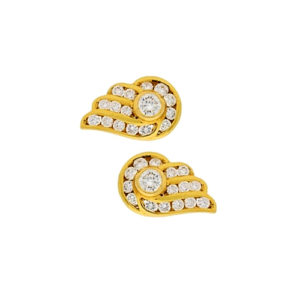 18ct gold diamond wing studs
