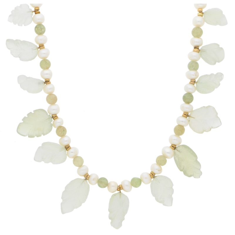Pearl and beaded tourmaline necklace with moonstone leaves