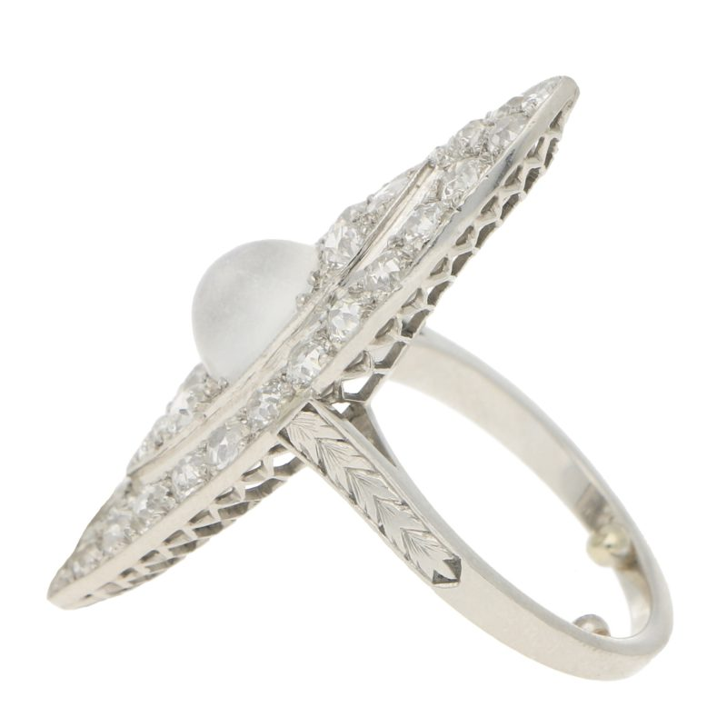Art Deco Moonstone and Diamond Cocktail Dress Ring in Platinum