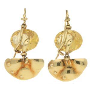 La Squadra Citrine set 18ct gold earrings with snake detail