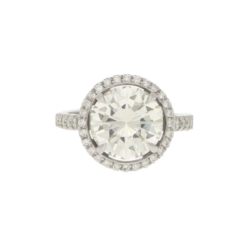 3.75ct Round Brilliant Diamond Halo Engagement Ring in Platinum