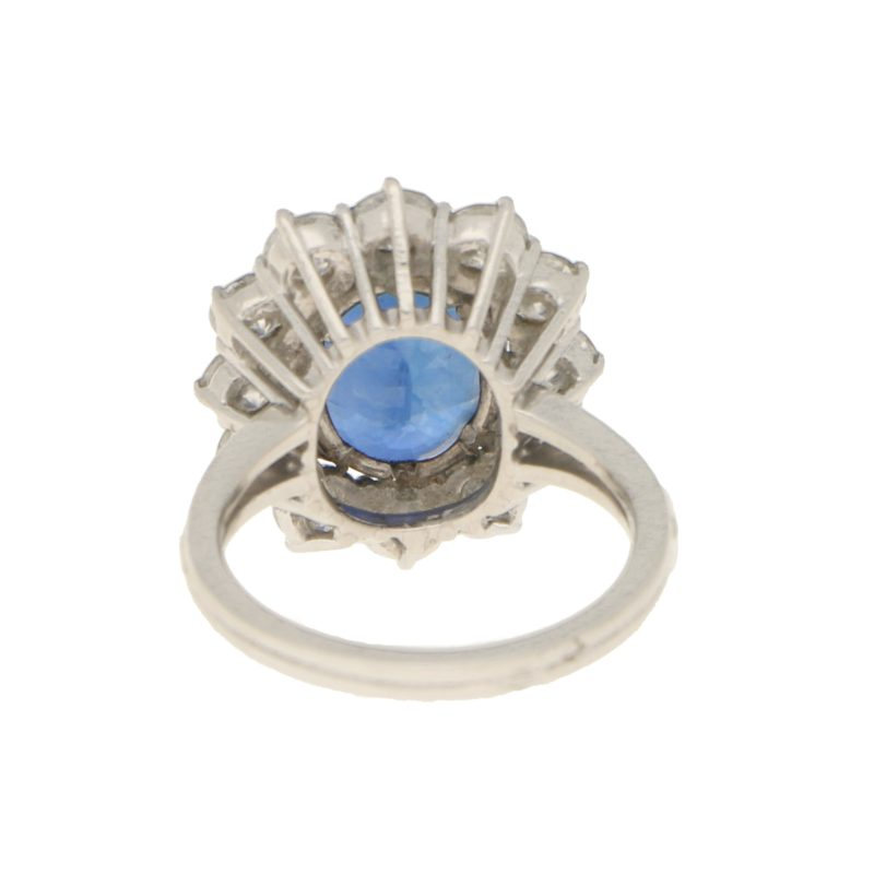 1960s French Sapphire and Diamond Cluster Ring in Platinum