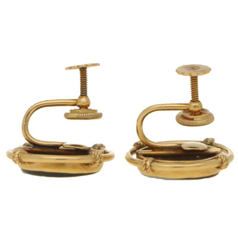 Victorian Sardonyx  Golfing Earrings