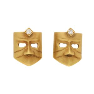 Diamond Masque Stud Earrings in 18 Carat Gold