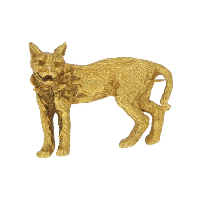 Lynx Cat Brooch Set in Solid 9k Yellow Gold
