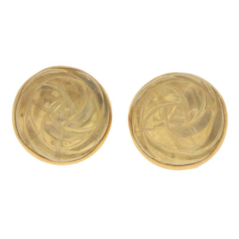 18ct yellow gold hand carved cabochon lemon quartz earrings