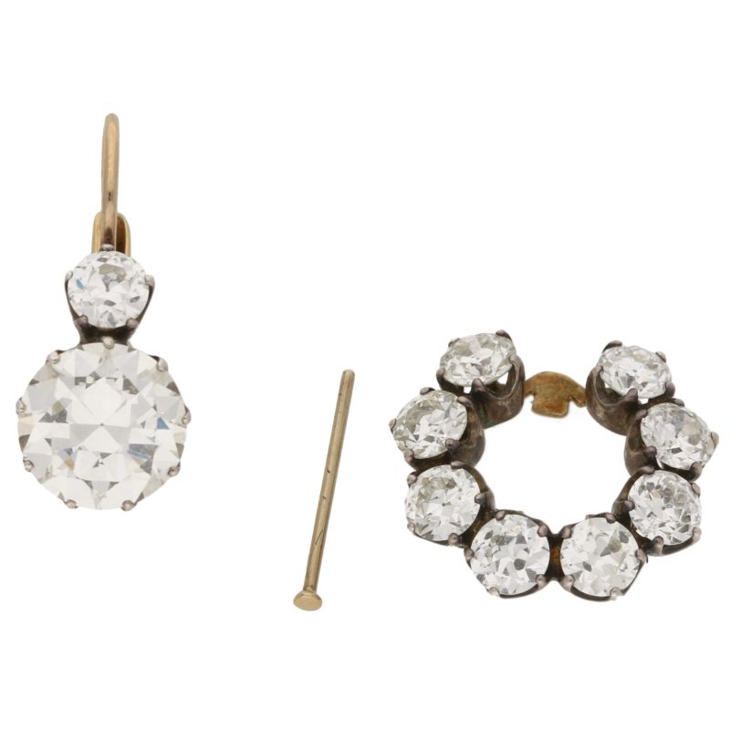 Victorian Inspired Convertible Cluster Drop Diamond Earrings