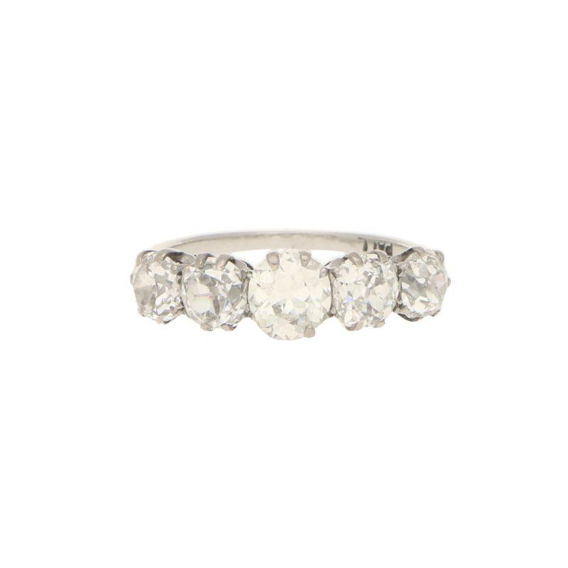 Vintage 2.70ct Five-Stone Diamond Ring in Palladium