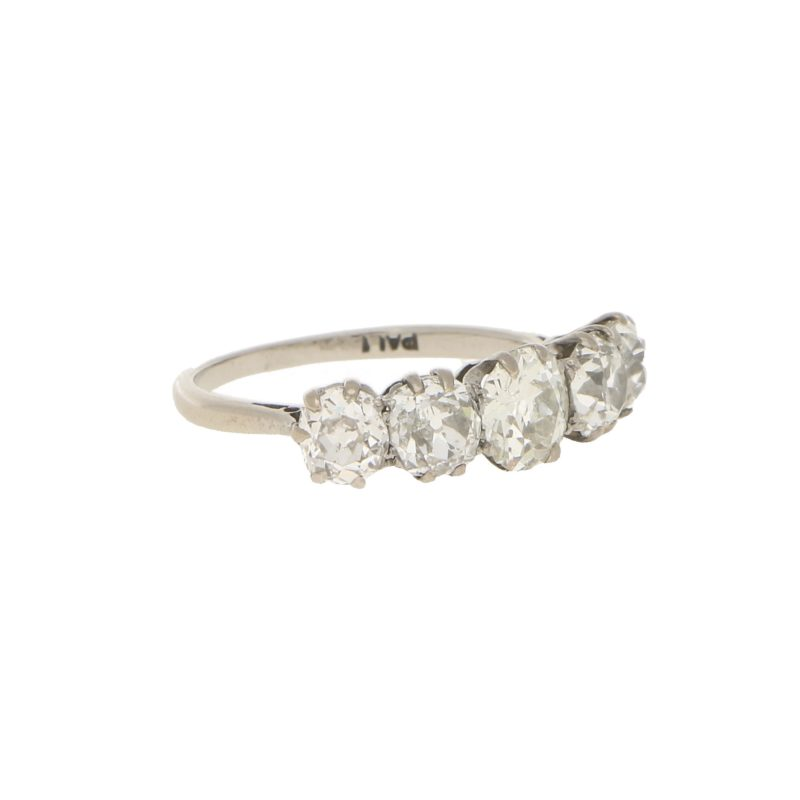 Vintage 2.70ct Five-Stone Diamond Ring in Palladium