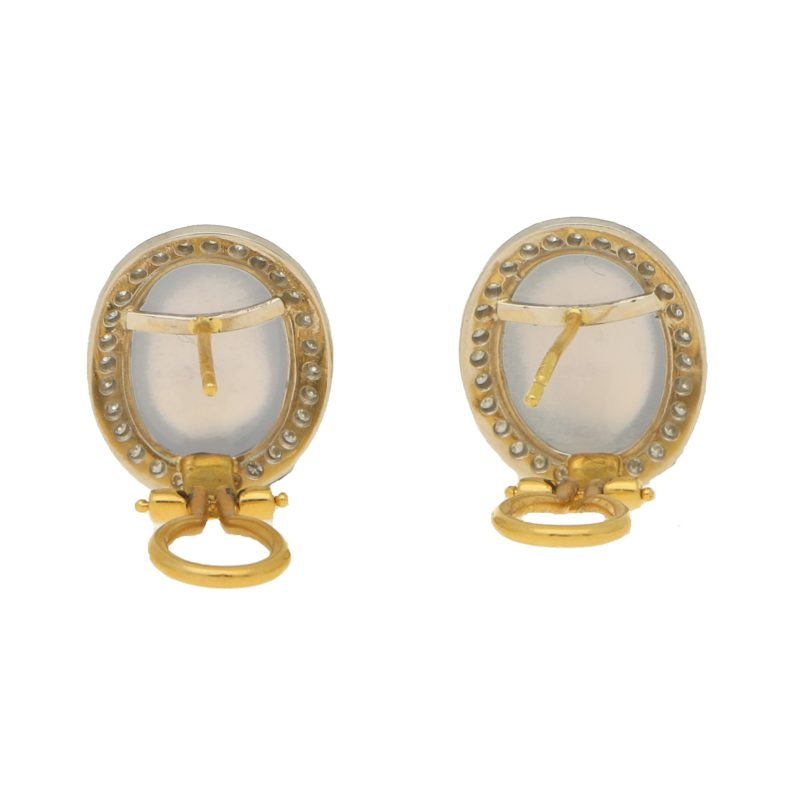 Chalcedony and Diamond Halo Earrings Set in 18k White Gold