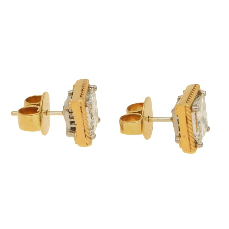 Convertible 4.04ct Princess-Cut Diamond Stud Earrings in Gold