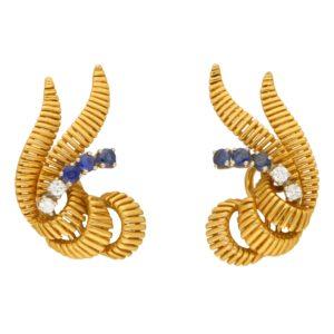 1950's spray diamond sapphire clip on earrings