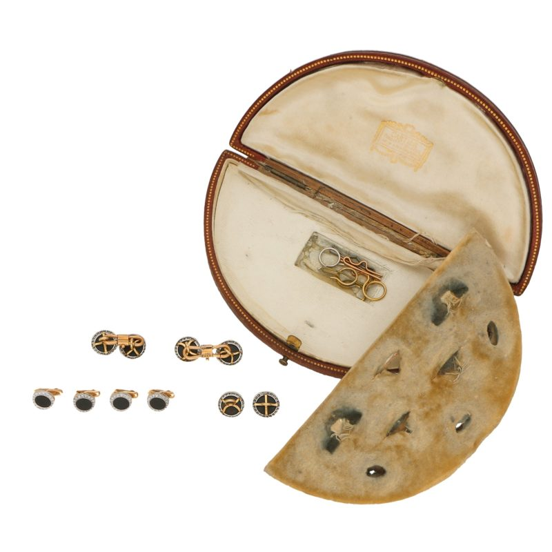 Art Deco Onyx and Diamond Dress Set, cased by Cartier, French