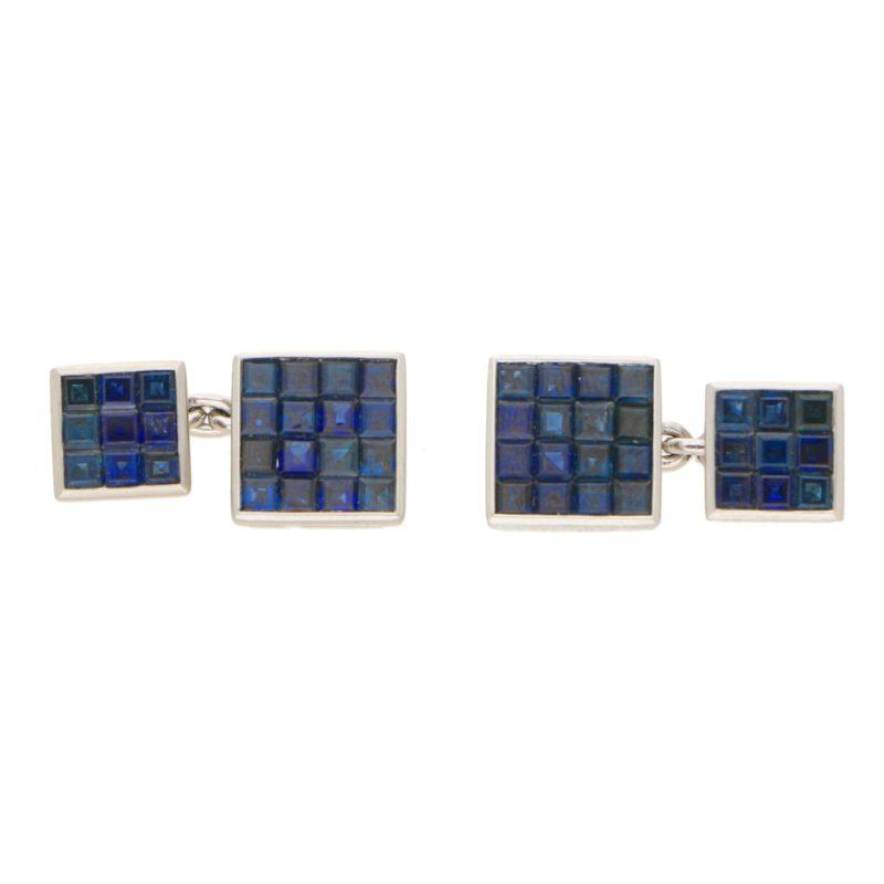 Invisibly-set carre-cut sapphire cufflinks in platinum