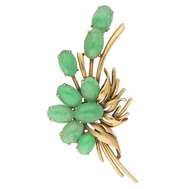 Vibrant Green Jadeite Brooch Set in 14k Yellow Gold