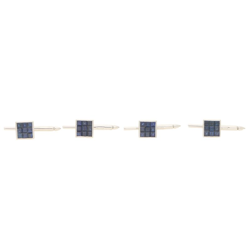 Platinum French cut sapphire square shirt studs