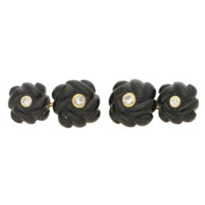 Asprey carved onyx and diamond cufflinks