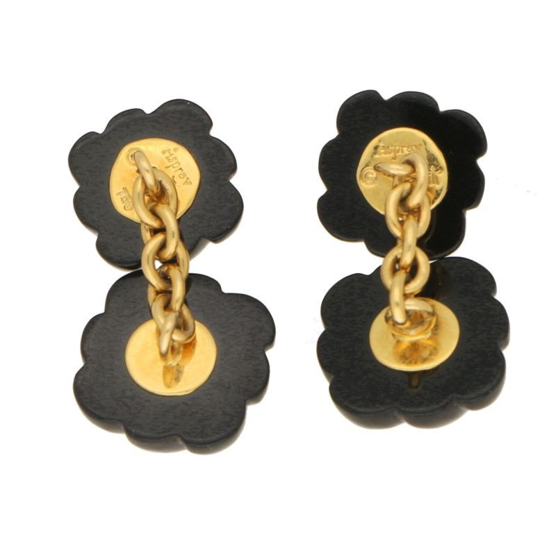 Asprey carved onyx and diamond cufflinks
