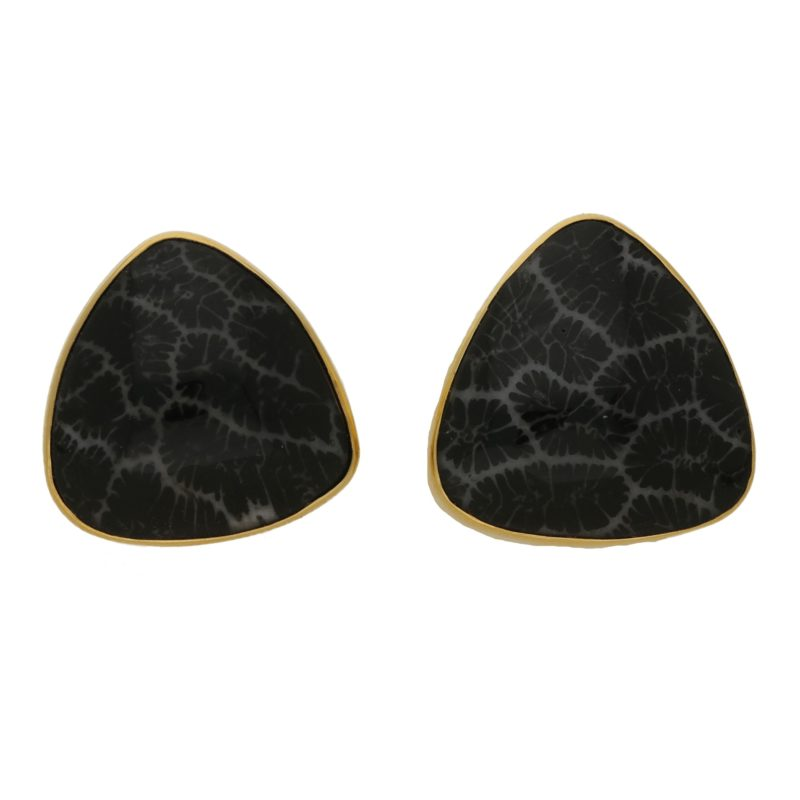 18ct gold fossilised coral earrings