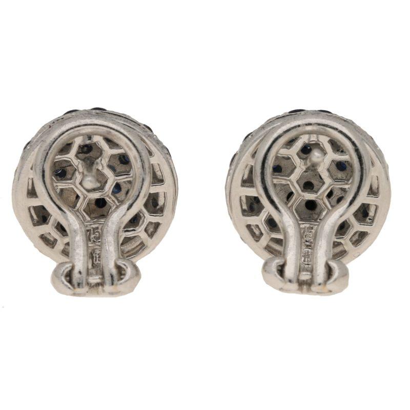 Sapphire diamond domed stud earrings