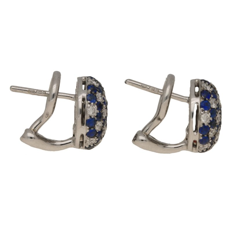 Sapphire diamond domed stud earrings