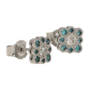 18ct gold blue diamond stud earrings