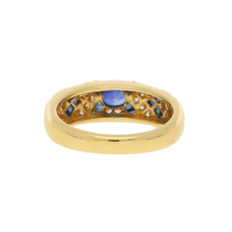 David Morris Sapphire and Diamond Cocktail Ring in Yellow Gold