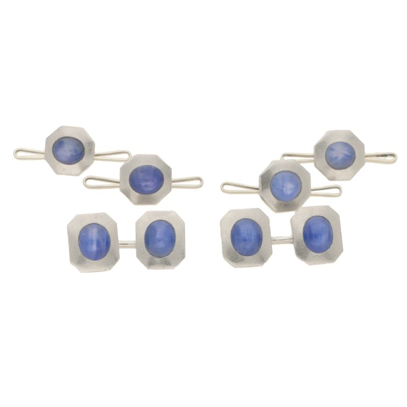 1940's platinum and cabochon star sapphire dress set