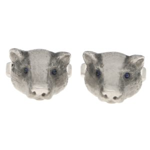 Sapphire Eyed Badger Swivel Back Cufflinks