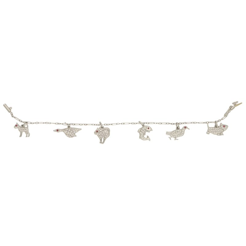 1950s Diamond and Ruby Animal Charm Bracelet Set in Platinum