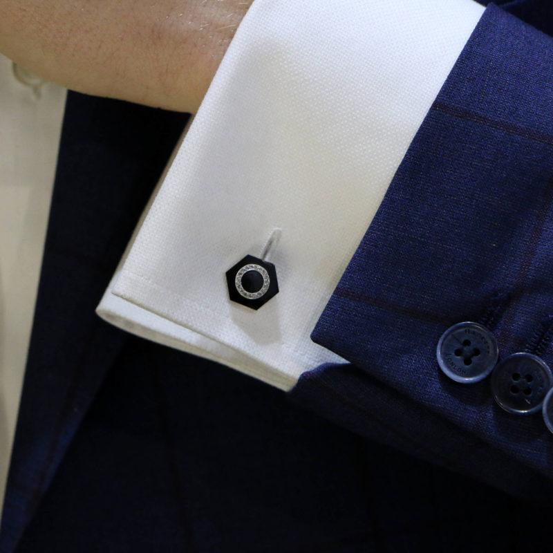 1920's French Onyx and diamond cufflinks