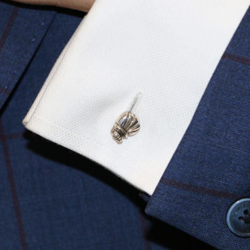 Sterling silver bug chain link cufflinks