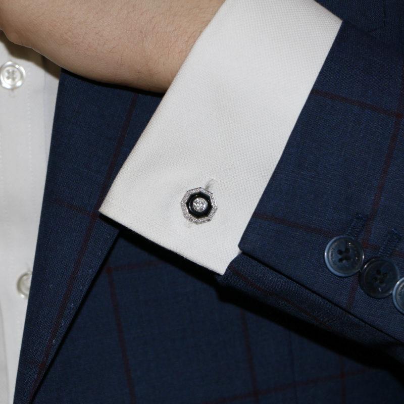 Art Deco-Style Diamond and Onyx Target Cufflinks in Platinum