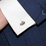 18k white gold skull swivel back cufflinks with diamond eyes