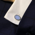 Sterling silver oval chain link cufflinks with barley effect