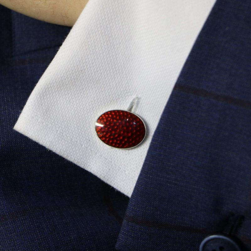 Sterling silver and enamel blood orange chain link cufflinks
