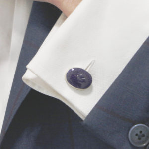 Sterling silver and enamel deep purple chain link cufflinks