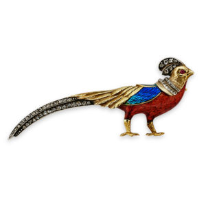 Victorian Enamel, Diamond and Ruby Golden Pheasant Brooch